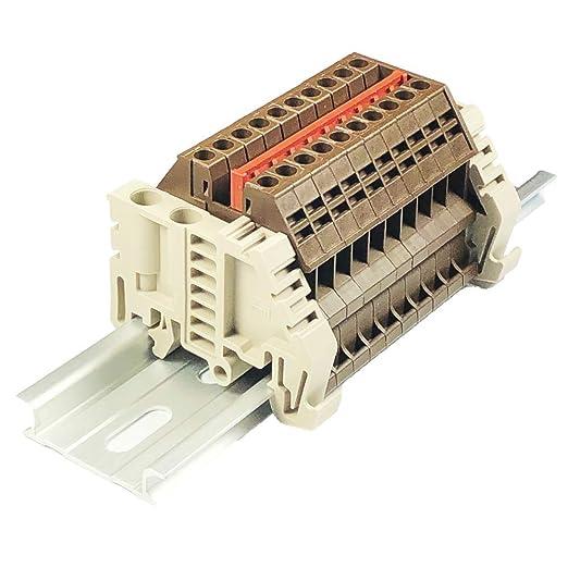 12-22 AWG 600 Volt Solar Combiner Brown 20 Amp Dinkle Power Distribution DK2.5N-BR 10 Gang Box Connector DIN Rail Terminal Blocks