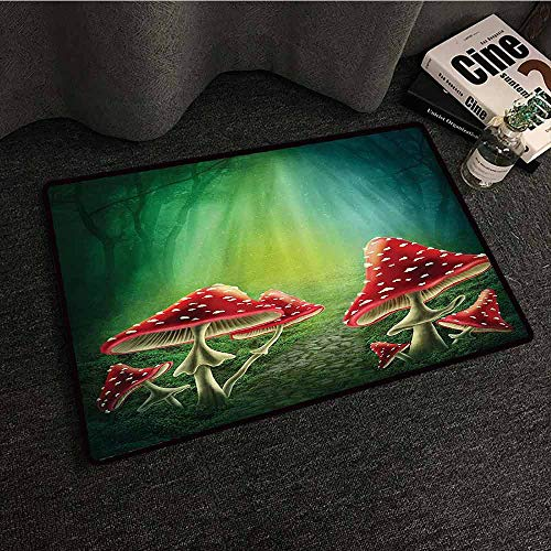 (Red Green Mushroom Fashion Door mat House with a Garden of Flowers Balloons Floral Striped Circus Tent Image Quick and Easy to Clean W35 xL59 Red Green Beige)