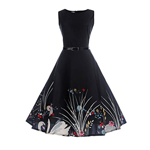 4cd022a10c0a Ruhiku GW Women s Vintage Dresses 1950s Sleeveless Music Printed Party  Swing Rockabilly Dress with Belt (