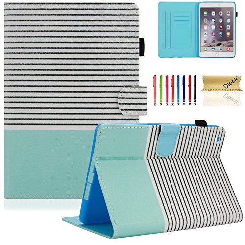 Dteck iPad mini 1/2/3 Case - Folio Slim Fit Stand Case with Smart Cover Auto Sleep / Wake Feature for Apple iPad Mini 1/ iPad Mini 2 / iPad Mini 3, Mint Stripes