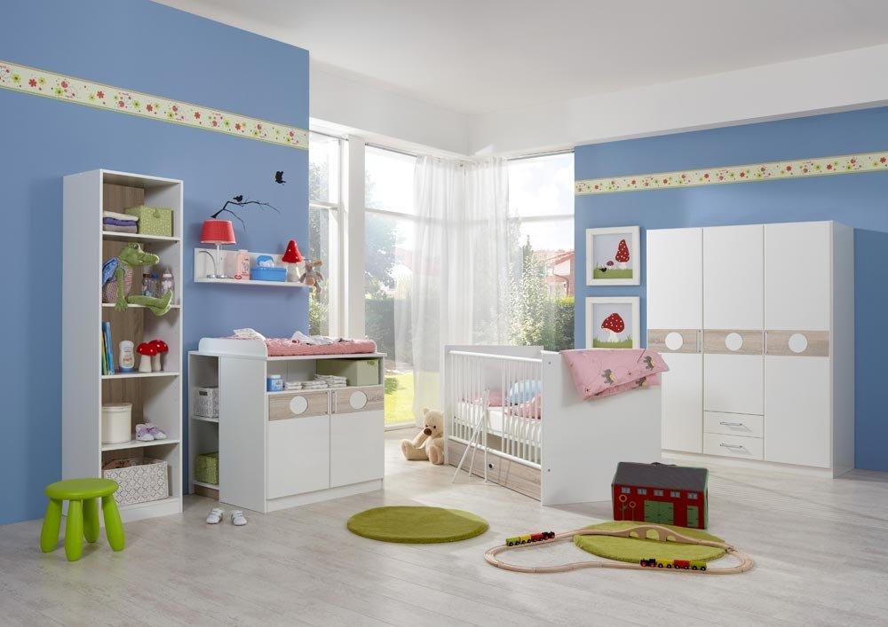 3-tlg. Babyzimmer in Weiß/Eiche-sägerau-Nachbildung, Schrank B: 135 cm, Babybett inkl. Lattenrost 70 x 140 cm, Wickelkommode B: 90 cm