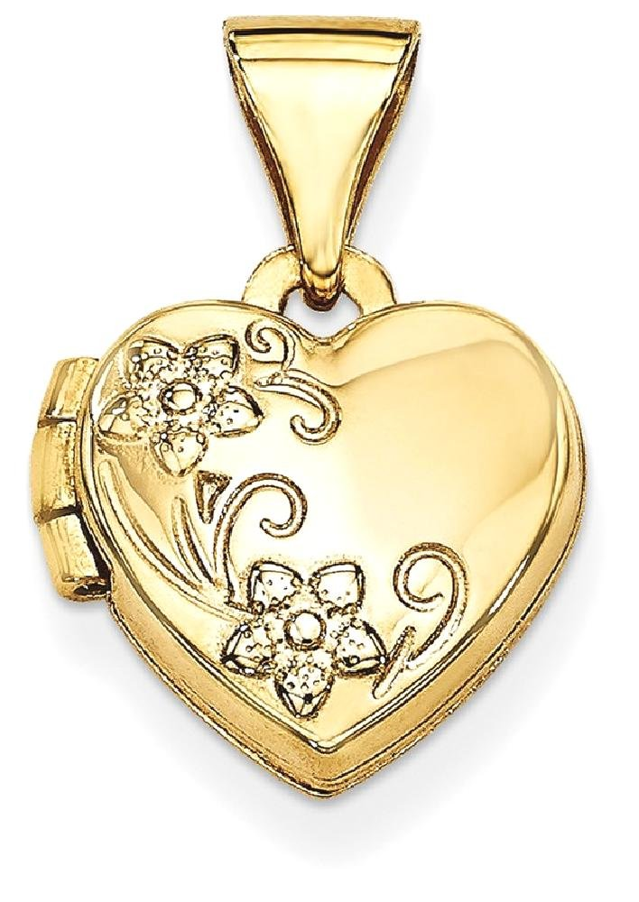 ICE CARATS 14k Yellow Gold Floral Heart Photo Pendant Charm Locket Chain Necklace That Holds Pictures Fine Jewelry Gift Set For Women Heart