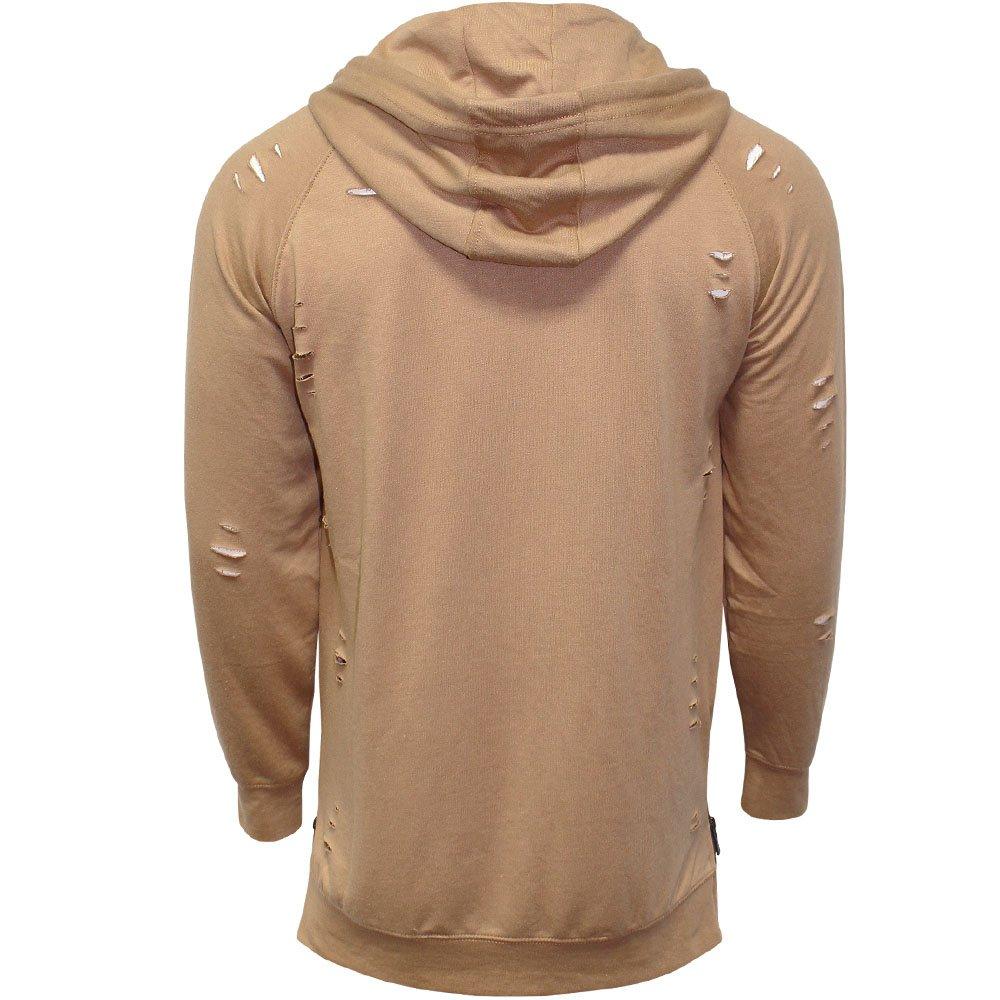 Mens Soulstar Designer Ripped Longline Hoodie Distressed Zip Detail Sweat Shirt