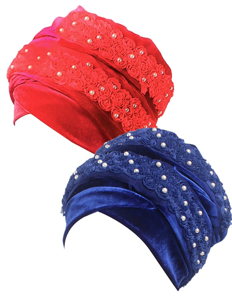 Ababalaya Women's Luxury Velvet 3D Flowers Imitated Pearls Muslim Turban Hijab 67×10 Inch,Red+Sapphire