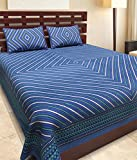 DIKSHITAFAB WITH DEVICE OF TREE Jaipuri Cotton King Size Double bedsheet with 2 Pillow Cover (Blue)