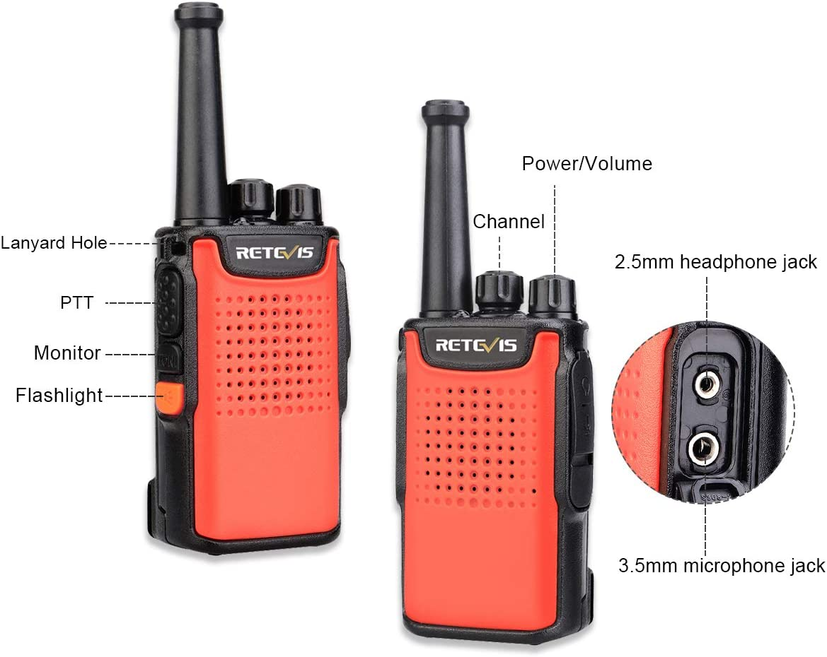 Retevis RT67 Walkie Talkies Rechargeable Long Range 3000mAh Battery Mini Two Way Radios Adults Hands Free Anti-Fall with LED Flashlight Orange,3 Pack