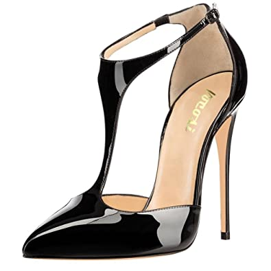 4feb7e0769f4 VOCOSI Women s T-Strap Pointed Toe Solid Ankle Strap Buckle High Heels  Patent Leather Pumps Evening Dress Shoes