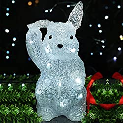 "BRIGHT ZEAL Solar Powered Valentines Lights with LED Figurines - LED Acrylic Lighted 11"" Tall RABBIT Sculpture - Outdoor Figurines Light Spring Festival Decoration - Valentines Day Decorations 22412"
