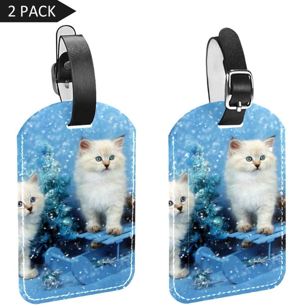 LORVIES Lot de 2 /étiquettes pour bagages Motif chaton sib/érien avec arbre de No/ël