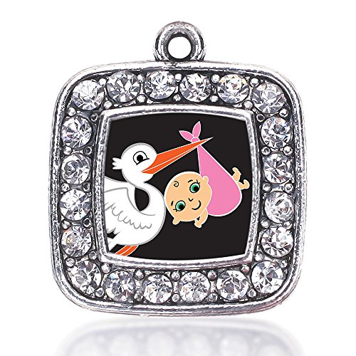 Inspired Silver Stork Brings A Girl Loose Square Charm with Crystal Rhinestones ()