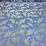 Jacquard Damask Bloom Brocade Fabric 118'' Wide (Baby Blue / Gold)