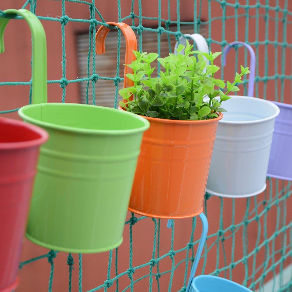 Firlar 10 macetas colgantes de metal para flores de hierro, cubo de flores, cubo de arena, macetas de flores al aire libre, macetas de balcón, macetas de pared, decoración del hogar (10 x 10 x 8)
