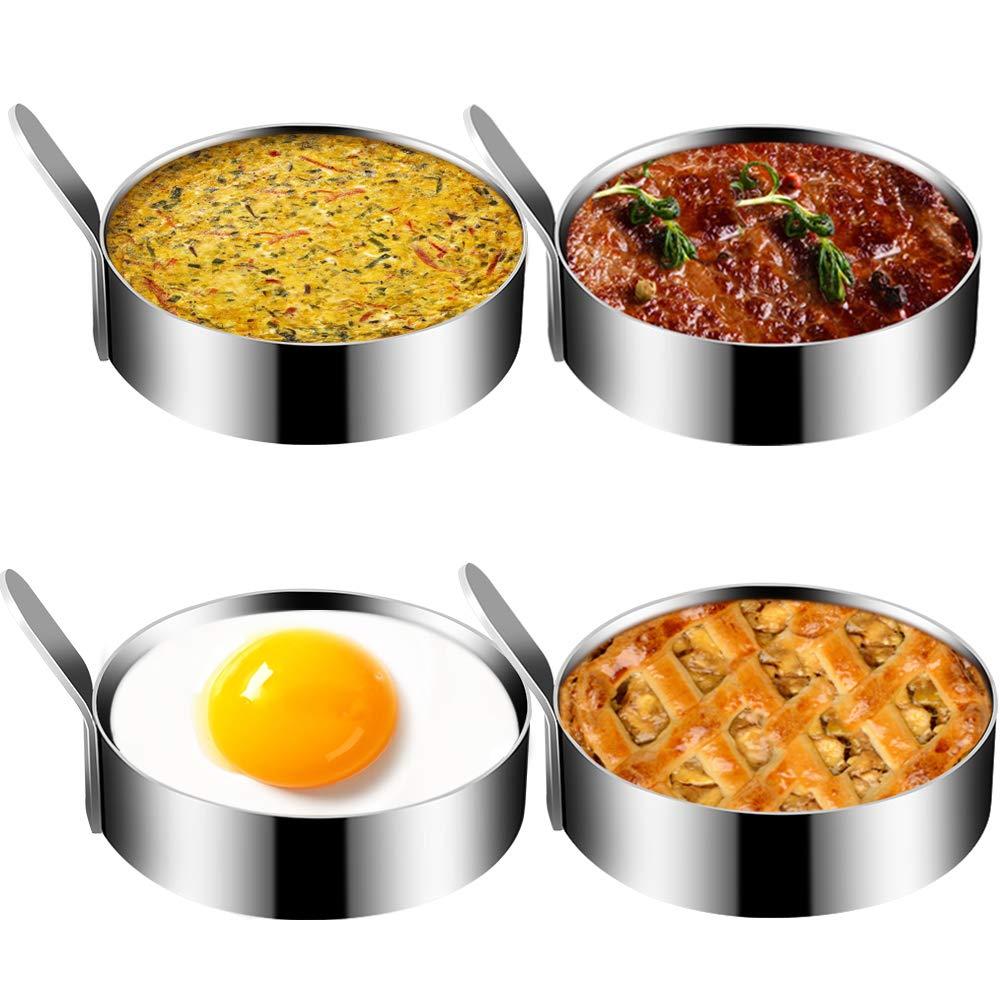 Egg Mold, Kmeivol Stainless SteelEgg Rings, Non StickEgg Muffin Molds, Durable Metal Circle Egg Ringfor Cooking Fried Egg, Egg Circles for Griddle, Egg Sandwich Mold for Kitchen, 4 Pack, 3.5Inch