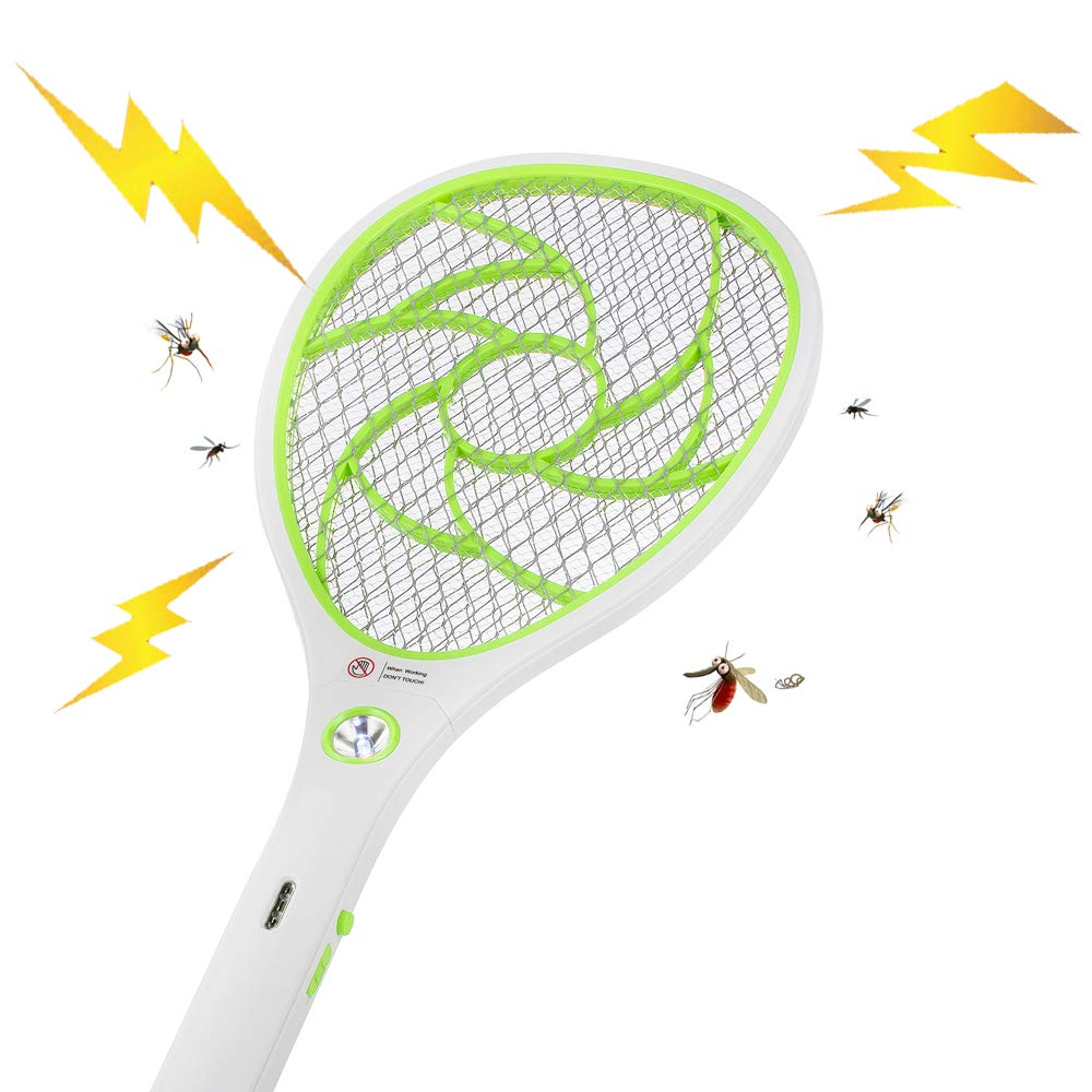 Green Electric Mosquito Fly Bugs Swatter Zapper Bat Racket USB Rechargeable LED Lighting Double Layers Mesh Protection Pests Insects Control Killer Repellent