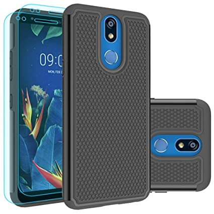 LG K40 Case,LG K12 Plus Case,LG X4 (2019) Case,LMX420 Case with HD Screen Protector [2 Pack] Huness Durable Armor and Resilient Shock Absorption Case ...