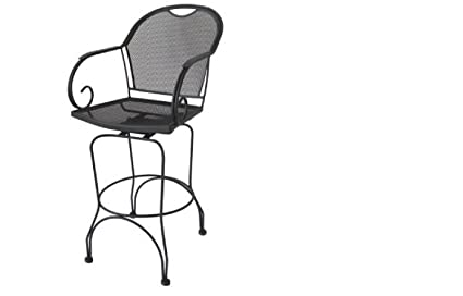 SET 2 WROUGHT IRON SWIVEL BAR STOOL CHAIRS OUTDOOR PATIO DECK BAR