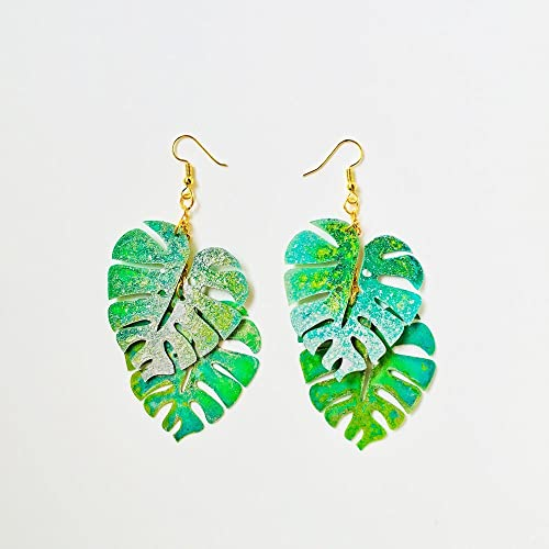 e7a40e720 Image Unavailable. Image not available for. Color: Monstera leaf drops  earring - Tropical leaf earrings ...