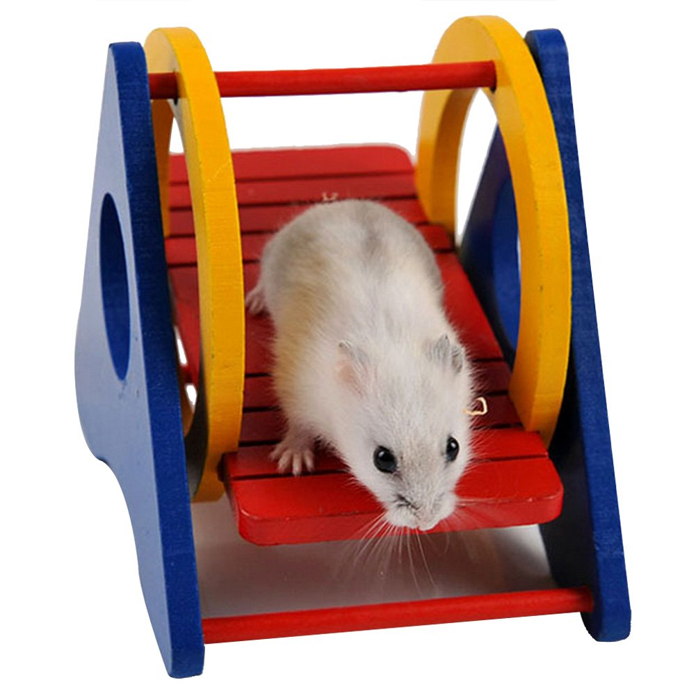 Zrong Colorful Funny Wooden Swing Sport Exercise Play Toy for Rat Hamster Mouse Random Color