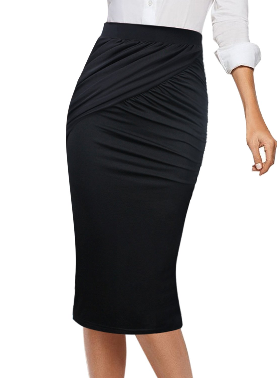 VFSHOW Womens Elegant Ruched High Waist Work Casual Pencil Midi Skirt 303 BLK M
