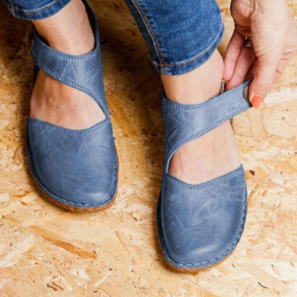 qiansu Damen Ballett Flache Sandalen Mary Jane Closed Toe Strap R/ömerschuhe