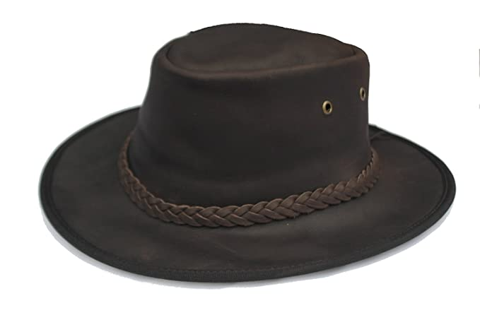 Cotswold Country Hats Adventurer Dark Brown Leather Bush Hat (55cm Small) b5ebe0a16aa