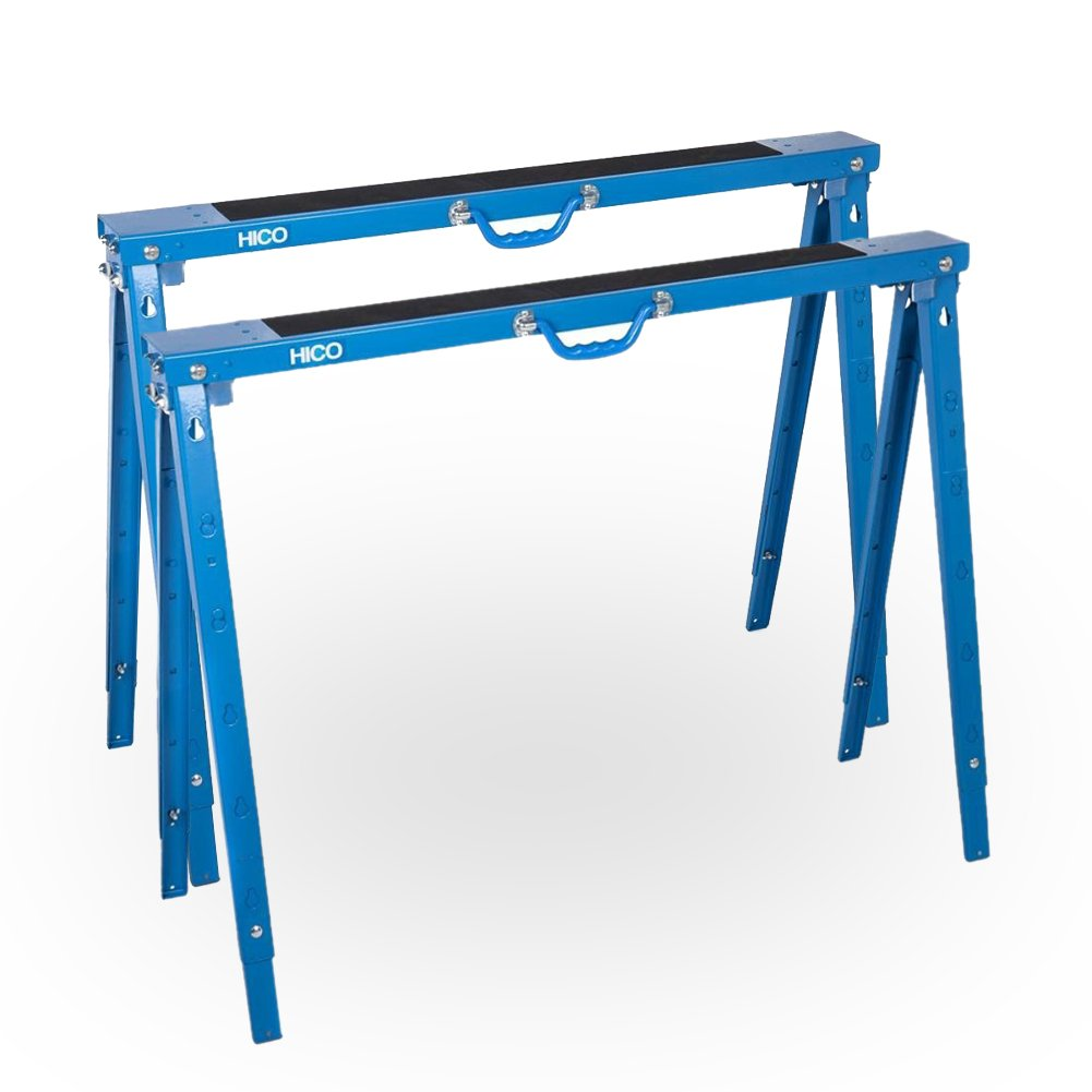 HICO Sawhorse Folding Metal Sawhorse - 5 Heights Adjustable Twin pack
