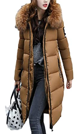 ba32a37a0 Amazon.com: Rrive Women's Thicken Faux Fur Hood Quilted Longline ...