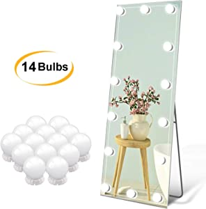 Led Vanity Mirror Lights Hollywood Style Vanity Make Up Light Ultra Bright White LED Dimmable Control Lights for Makeup Vanity Table Bathroom Mirror (14 Bulbs)
