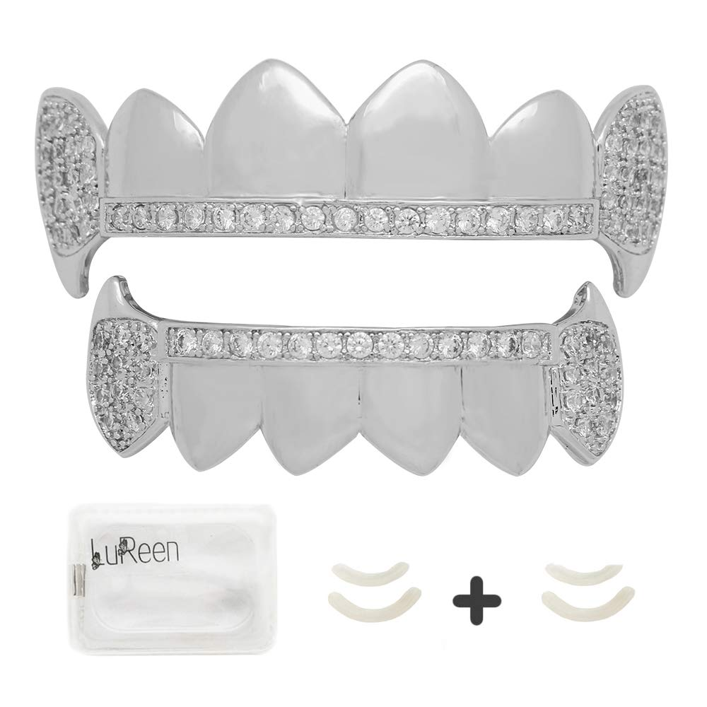 LuReen Gold Silver Vampire Fangs Pave CZ 6 Top and Bottom Grills Teeth Sets + Extra 2 Molding Bars by LuReen