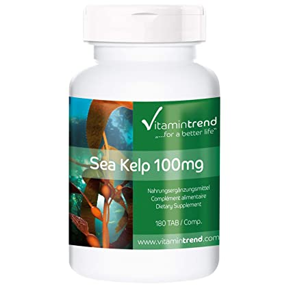 Alga Kelp 100mg – ¡Para 6 MESES! – Fucus vesiculosus – Vegano – Suplemento de yodo natural – 180 comprimidos