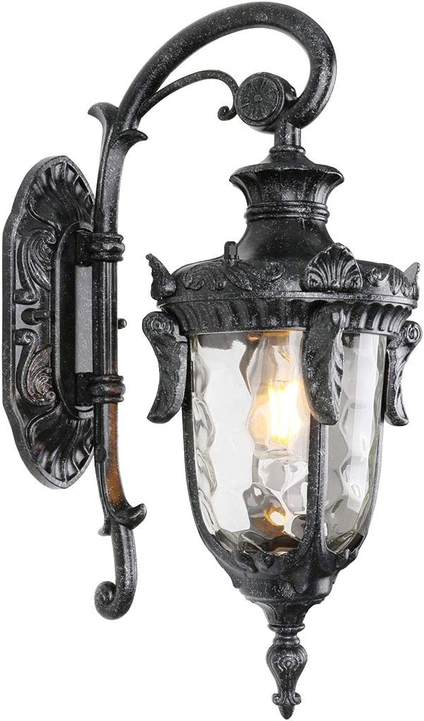 Goalplus Outdoor Wall Mount Light for Porch One-Light E26 Wall Lantern Vintage Exterior Wall Sconce with Hammered Glass, Dark Stone Finish, 17 High, IP44 Waterproof, LM2003-DNS