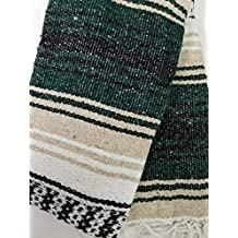Soft Handwoven Mexican Blanket in Traditional Strips - Great for Camping, Picnic, Beach, Yoga or Throw - By Yogavni(TM) (Green)