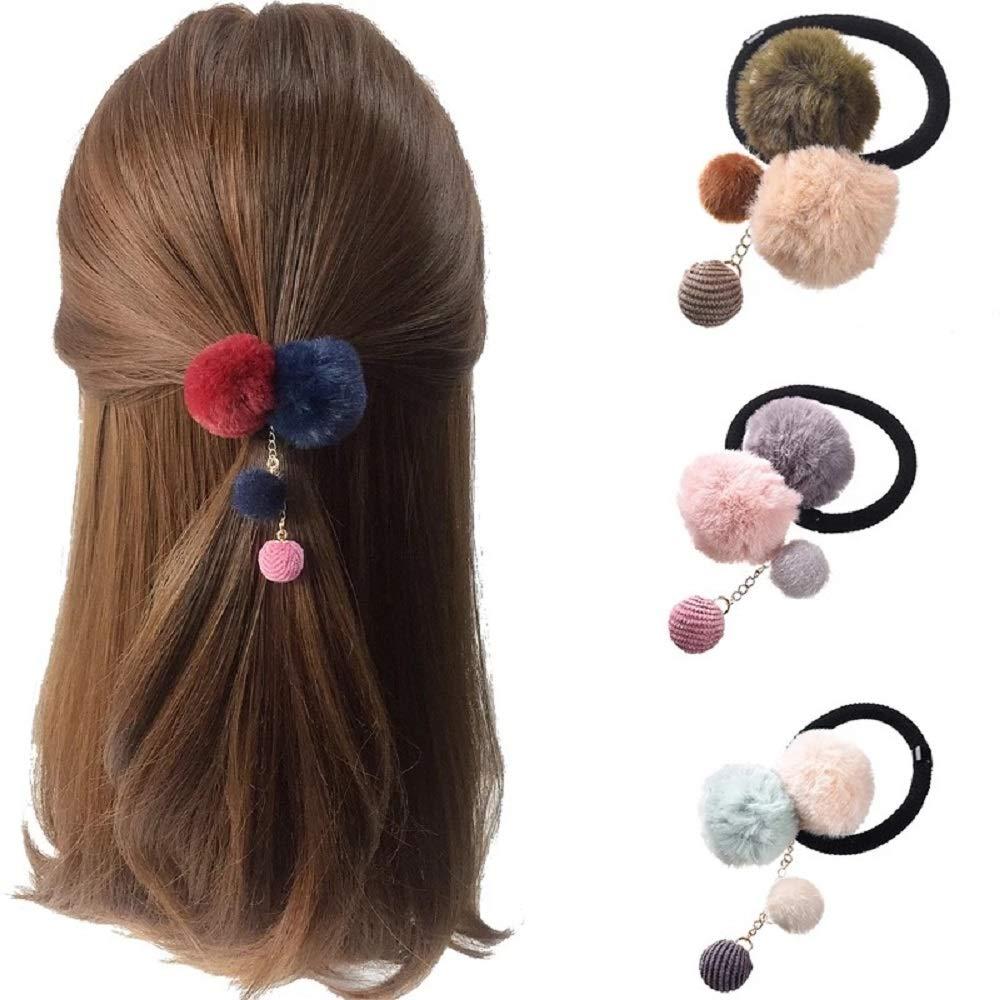 3PCS Fluffy Ball Hair Ties Elastic Hair Ring Rope Band Ponytail Holder for Girls