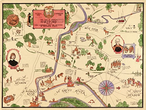 Map: 1927 of pioneer Hartford : founded 1636, incorporated 1784, showing early landmarks and the locations of historical events March 1, 1927 Connecticut Hartford Hartford - Holidays Odd March In