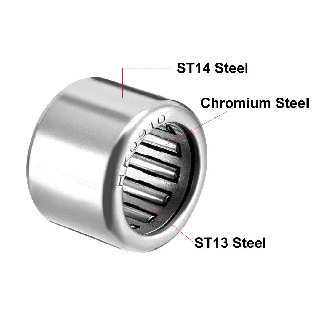 Pack of 1 14mm OD Open End 15mm Width uxcell/® HK1015 Drawn Cup Needle Roller Bearings 10mm Bore Dia