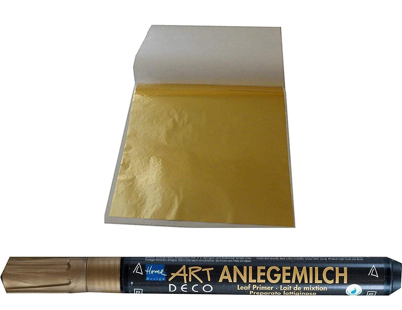 1 x Anlegemilch im Stift Schlagmetall 4,8 x 4,8 cm 100 Blatt Blattgold Imit.