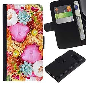 Paccase / Billetera de Cuero Caso del tirón Titular de la tarjeta Carcasa Funda para - Flower Blossoms Pink Basket Blue - Samsung Galaxy S6 SM-G920
