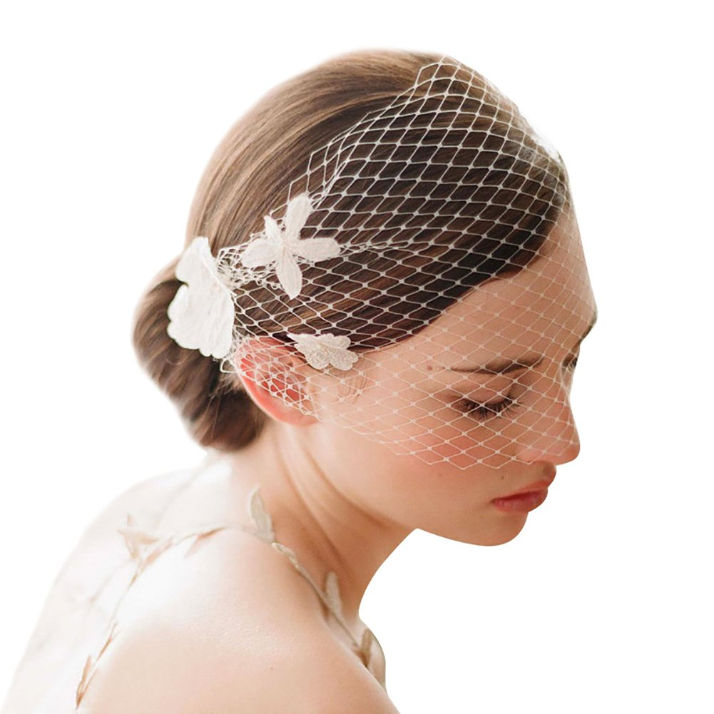 Women Bridal Veil with Comb Short Tulle Hair Accessories Cathedral Wedding Headwear