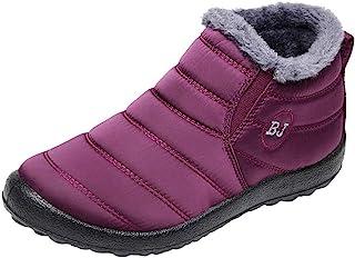 Bottes pour Dames d'hiver, Honestyi Femmes Court Chaussures Hiver Solide Couleur Garder en Cachemire Chaud Bottines Plus Velours Botte Étanche de Neige Plat Bottes