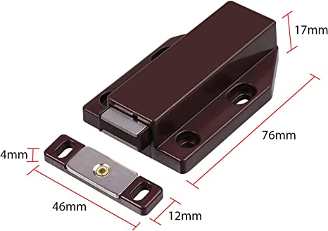 Touch Latch Magnetic Push Open Door Latch For Large Doors Brown 2 Pack