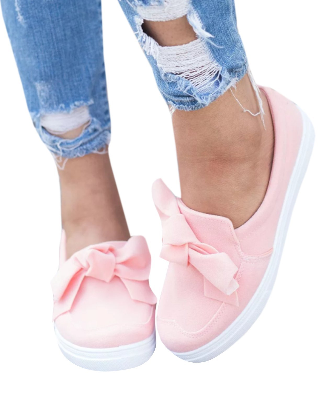 Pxmoda Womens Slip On Ruffle Bow Knot Espadrille Sneakers Fashion Summer Slide Shoes (US 12, Pink)