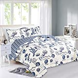 Great Bay Home 2 Piece Quilt Set with Shams. Soft All-Season Microfiber Bedspread Featuring Attractive Seascape Images. Machine Washable. The Catalina Collection Brand. (Twin, Navy)