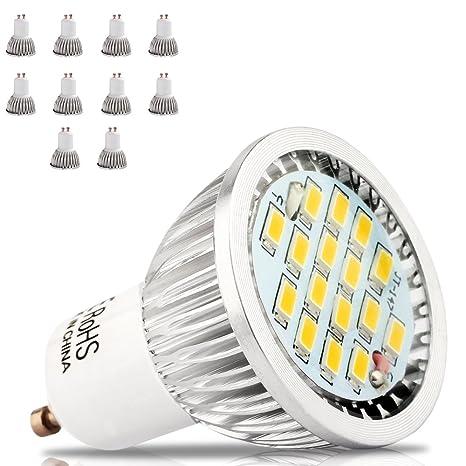 Pack de 10 Bombillas 16 SMD 2835 LED GU10 5.5 W, equivalente a bombillas halógenas