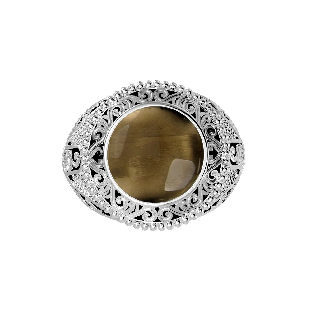 Genuine Smoky Quartz Round /& .925 Silver Plated Cocktail Solitaire Rings 5.70ctw