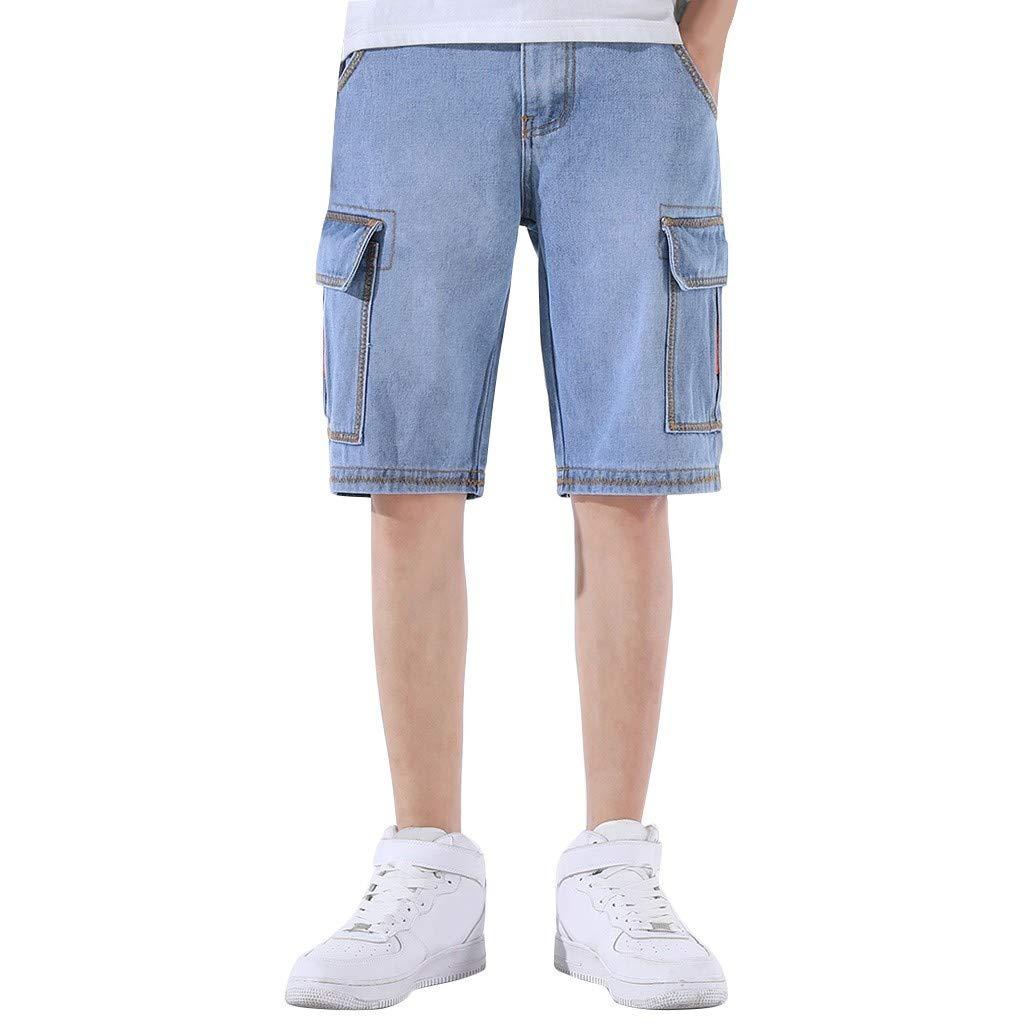 MODOQO Men's Sport Shorts, Summer Fashion Comfortable Plus Size Elastic Waist Fittings Shorts(Light Blue,CN-28/US-26) by MODOQO