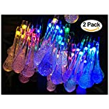 #8: 2 Pack Solar Strings Lights, Lemontec 20 Feet 30 LED Water Drop Solar Fairy Lights, Waterproof Lights for Garden, Patio, Yard, Home, Parties- Multi Color