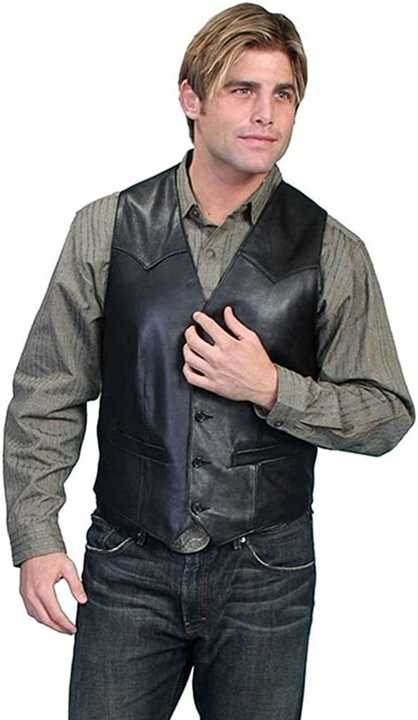 Scully Men's Lamb Leather Western Vest Tall Black 56 T