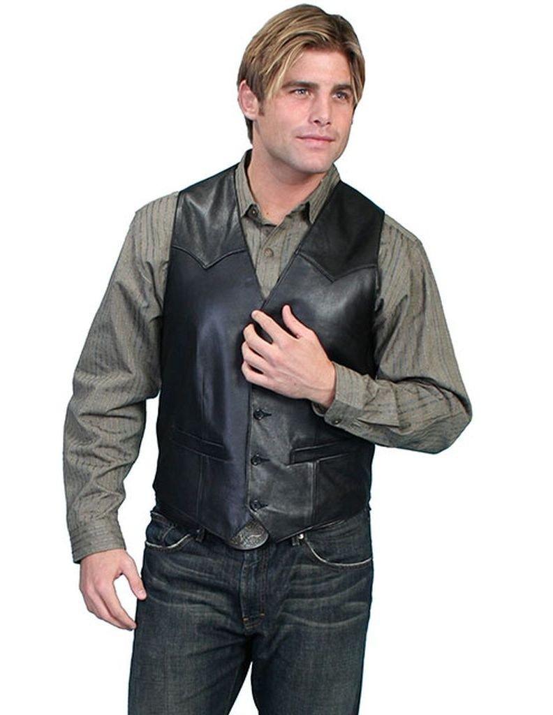 Scully Men's Lamb Leather Vest Black 42 R by Scully