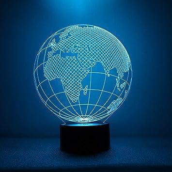 Amazon Com Shuangklei Earth Shape Lamp 3d Led World Map Night Light