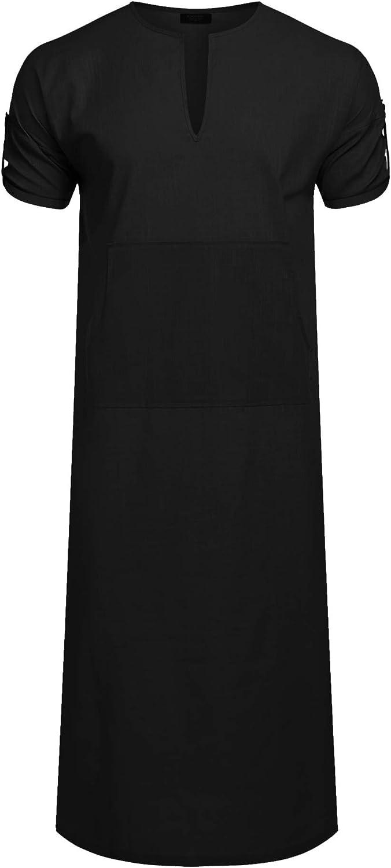COOFANDY Herren Nachthemd Schlafanzug Kurzarm Roben Herren Baumwolle Leinen Robes V-Ausschnitt Nachtw/äsche Mit Taschen Herrenhemd